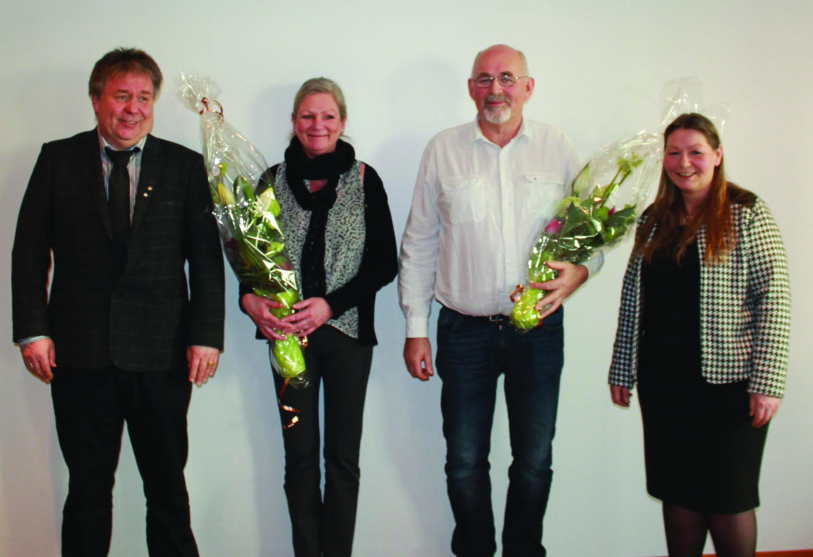 Fra venstre: Geir Olsen fra Fellesforbundet, 25 års jubilantene Rita Lone Borlaug og Leif Gerhard Kleppe og leder Eirin Bratland