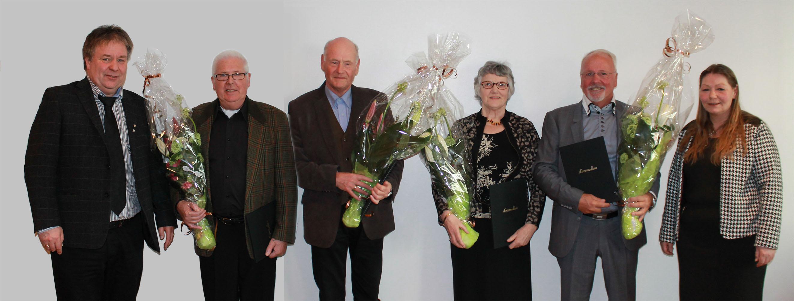 Fra venstre: Geir Olsen,45 års jubilantene Viktor Vindal, Olav Sture, Thorill Teigenes, Nils Albert Lokøen og leder Eirin Bratland